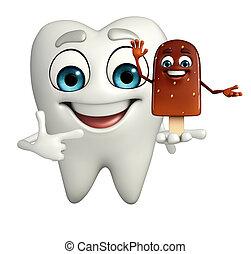 Teeth character is pointing - Cartoon character of teeth is...