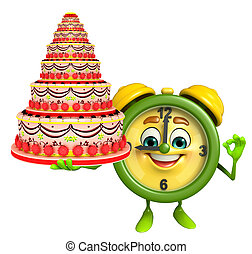 Table clock character with cake - Cartoon Character of table...