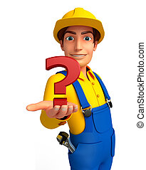 Young Mechanic with question mark - Illustration of young...