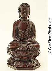 isolated object - Souvenir from Vietnam Buddha in bronze on...