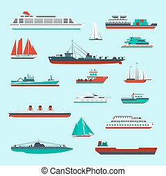 Ships and boats set - Ships and boats cargo cruise and...