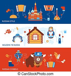 Russia travel banner set - Russia travel style symbols...