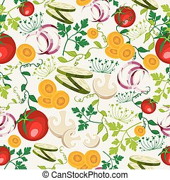 Vegetarian food pattern background - Colorful healthy food...