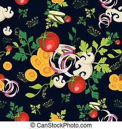 Organic vegetables seamless pattern background - Healthy...