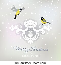 Two tits on Christmas background