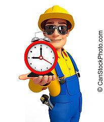 jovem, mecânico, com, tabela, relógio,