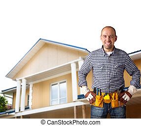 professional constructor - isolated on white background with...
