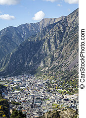 Andorra la Vella, Andorra - Panoramic Aerial view of the...