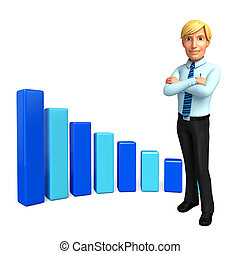 Young Service Man with business graph - Illustration of...