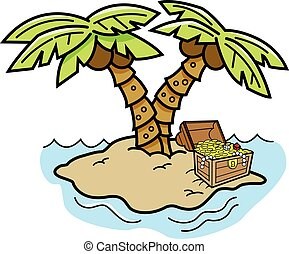 Cartoon island with palm trees and - Cartoon illustration of...