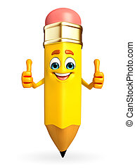 Pencil Character is thumbs up pose - Cartoon Character of...