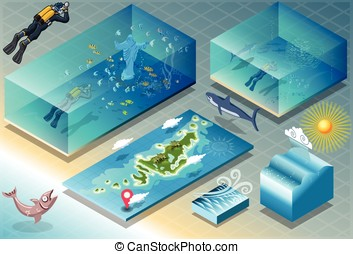 Isometric Tile of Carribean Diving Holidays - Detailed...