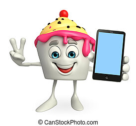 Ice Cream character with mobile - Cartoon Character of Ice...
