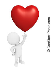 White character with red heart - Illustration of white...