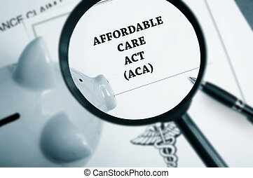 aca search - Magnifying glass over Affordable Care Act...
