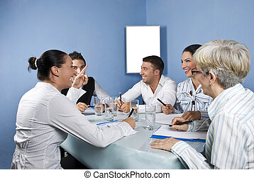 Business group meeting having fun - Business group having a...