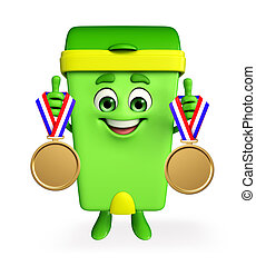 Dustbin Character with gold medals - Cartoon Character of...