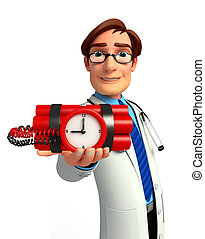 Young Doctor with time bomb - Illustration of young doctor...