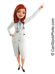 Young Doctor with pointing pose - Illustration of Young...