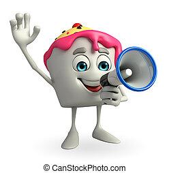 Ice Cream character with Loudspeaker - Cartoon Character of...