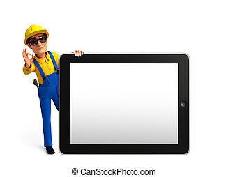 Young Mechanic with tab - Illustration of young mechanic...