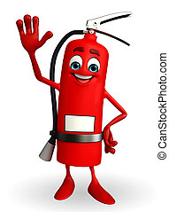 Fire Extinguisher character with hello pose - Cartoon...
