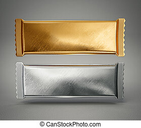 package - silver and gold package isolated on a grey...
