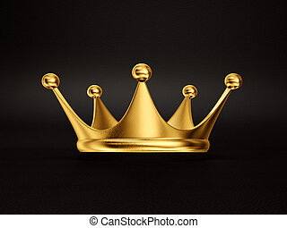 crown - gold crown isolated on a black background