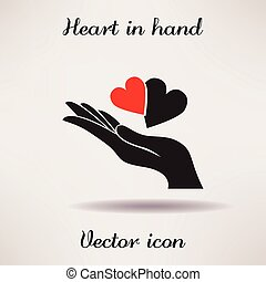 Pictograph of heart in hand Vector icon Template for design....
