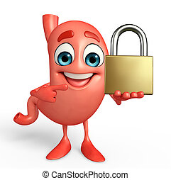 Cartoon Character of stomach with lock