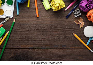 school supplies with copy space on table - school supplies...
