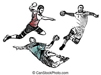 handball players - handball player vector illustration
