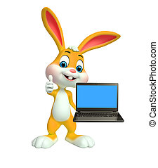 Easter Bunny with laptop - Cartoon Character of Easter Bunny...