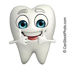 dentes, personagem, é, thumbup,