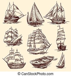 Ships and boats sketch set - Sailing tall ships yachts and...
