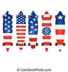 Vector illustration of american flag longboards - Leaf form...