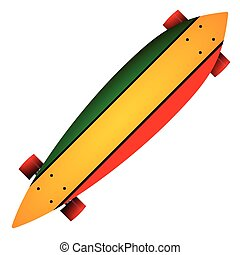 Vector illustration of three color longboard - Leaf form...