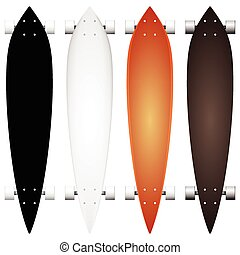 Colored vector mock-up for longboards - Vector collection of...