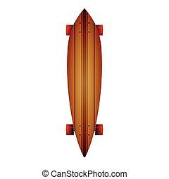 Vector illustration of wooden longboard - Leaf form wooden...