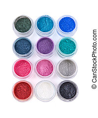 Set of colorful mineral eye shadows - Set of colorful...