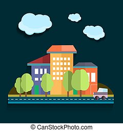 Illustration urban landscape. Color vector flat design