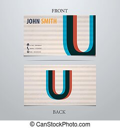 Business card template, letter U