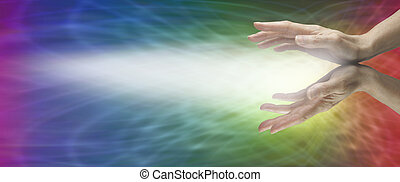 Rainbow Healing Website Banner - Female hands outstretched...