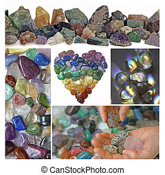 Collage of Healing Crystals - a collage of five different...