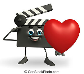 Clapper Board Character with heart