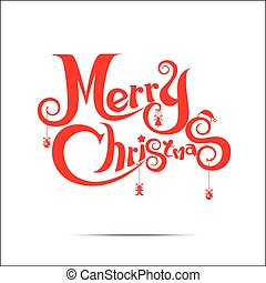 Merry Christmas text free hand design on white background -...