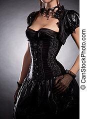 beau, jeune, femme, dans, Victorien, Style, costume, ,