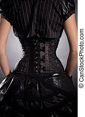 Porter, femme,  corset, jeune,  élégant, noir, arrière, vue