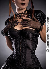 Beautiful young woman in Victorian style costume - Beautiful...