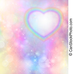Rainbow Heart Background - Rainbow heart on rainbow bokeh...